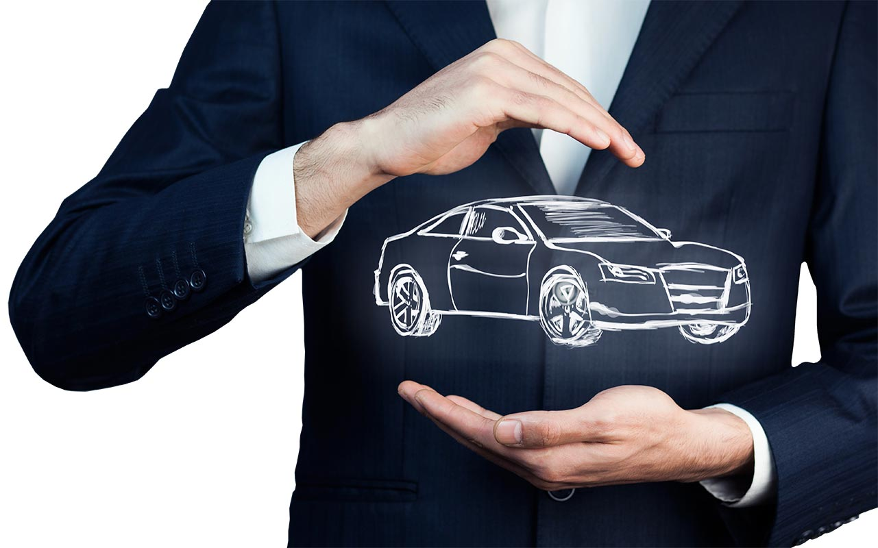 Man holding a graphic of a car